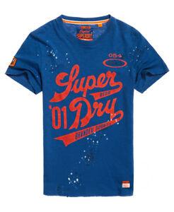 Neues Herren Superdry Legion T-Shirt Upstate Blau Slub