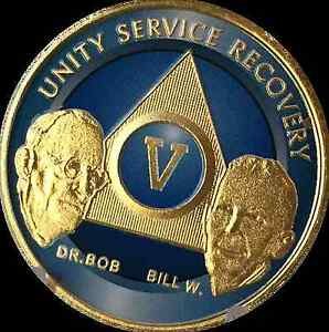 5-Year-Founders-AA-Medallion-Alcoholics-Anonymous-Chip-Blue-Gold-Plated-Coin