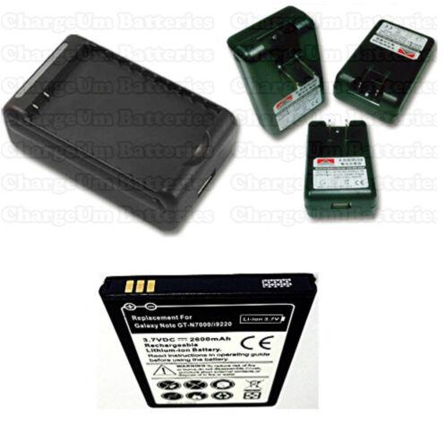 External Charger Travel USA Samsung Galaxy Note SGH i717M 2600 mAh Battery