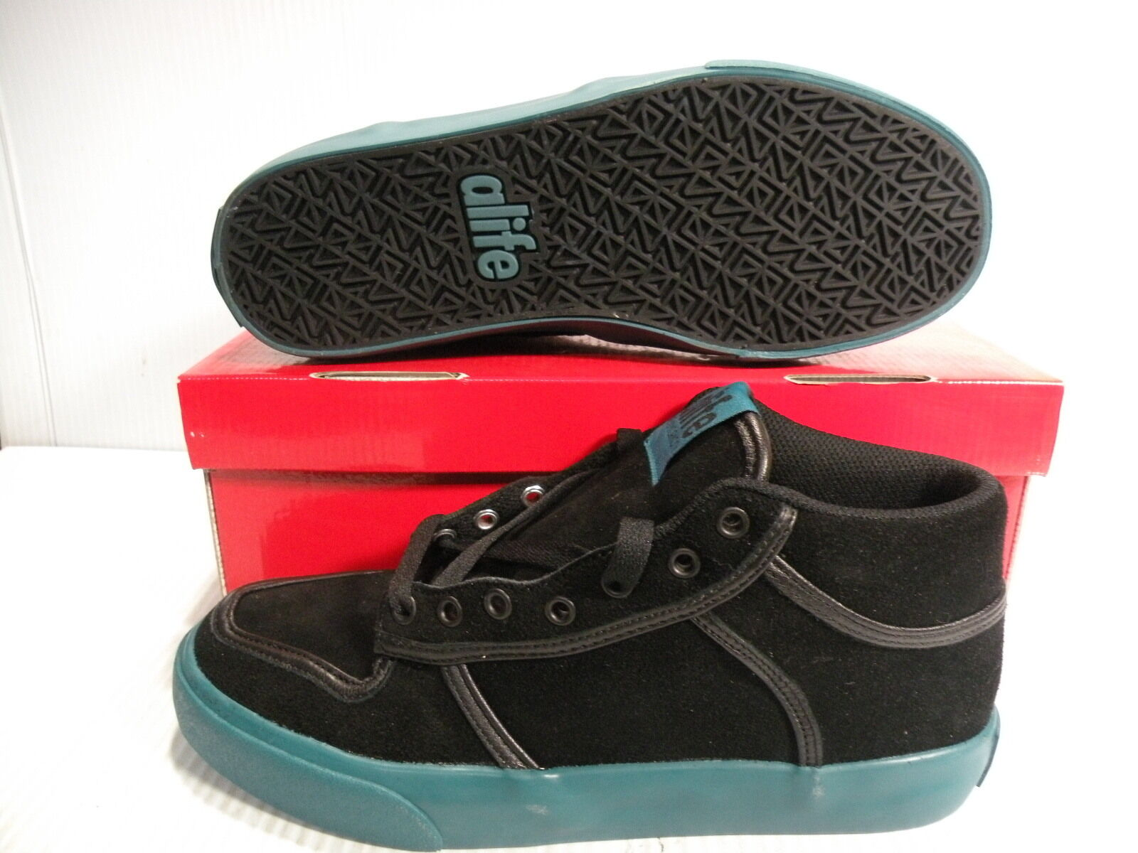 ALIFE EVERYBODY MID SUEDE SNEAKERS hommes Chaussures noir /GREEN F91EVMBP1 SIZE 11 NEW