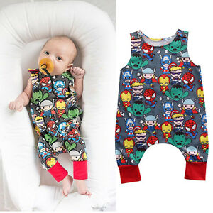 81b7afb1031c Newborn Baby Boy Romper Jumpsuit Cartoon Heros Pattern Summer ...