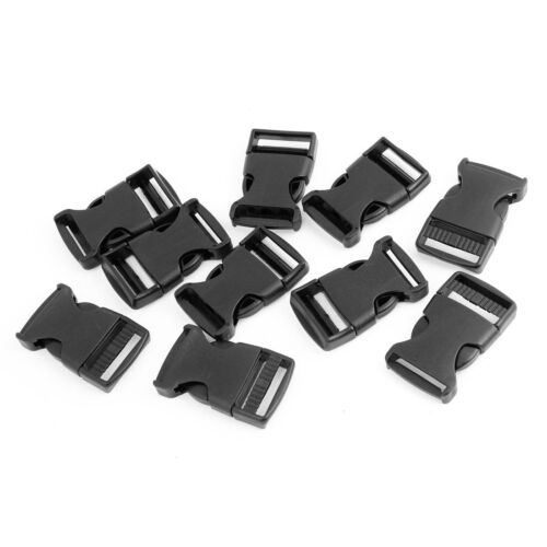 """10 Pcs 1/"""" 2.5CM Width Plastic Safety Quick Release Buckles Black T1"""