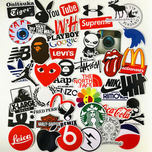 46PCS-Stickers-Vinyl-Skateboard-Guitar-Travel-Case-Pack-Tide-Brand-Logo-Decals