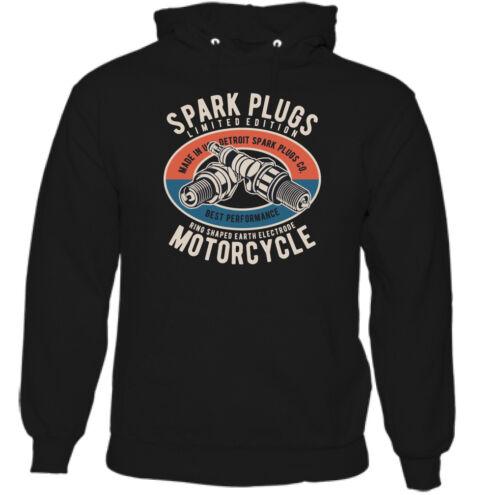 Spark Plugs Mens Biker Hoodie Motorbike Bike Motorcycle Top Enthusiast Indian