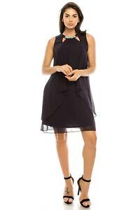 SLNY-Chiffon-Sleeveless-Pearl-Cutout-Neckline-Drapey-Layered-Dress-8-12-14