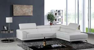 Free Shipping Modern White Leather Sectional Sofa w/ Right Facing Chaise