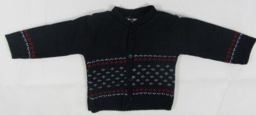 Baby Babies Girls Boys Cardigan Button Christmas Pattern Knit Navy Xmas 0 24 70