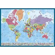 Sous main Planisphère Monde, carte des pays, continent, protège bureau