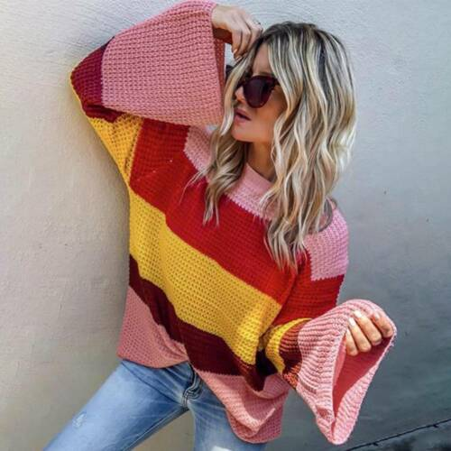 Women LADY Vintage Jumper Crew Neck Long Sleeve Pullover Stripe Sweater Rainbow