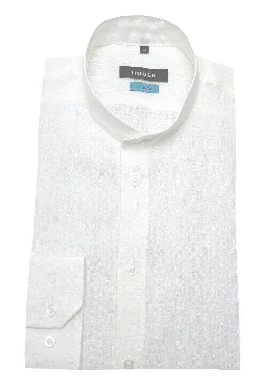 HUBER Stehkragen Leinen Herren Hemd weiß Langarm Made in EU. HU-90391 Slim Fit     | Attraktive Mode