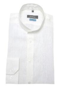 Camicia bianca Stand lunga Fit 90391 lino Collar Huber Manica di Hu Slim qdESU0S7w
