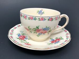 Vintage-Wedgwood-Cream-Pink-Harmony-Rose-Cup-amp-Saucer-Set-Made-in-England