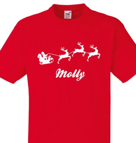 PERSONALISED MOLLY CHRISTMAS T SHIRT KIDS OR ADULTS SANTA SLEIGH