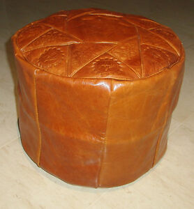 CAMEL-BROWN-GENUINE-LEATHER-MOROCCAN-POUF-POUFFE-HANDMADE-OTTOMAN-FOOTSTOOL