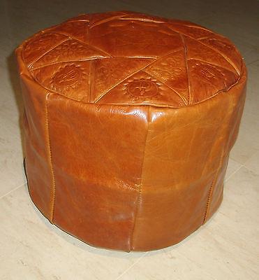 brown handmade moroccan pouf genuine leather pouffe ottoman footstool .
