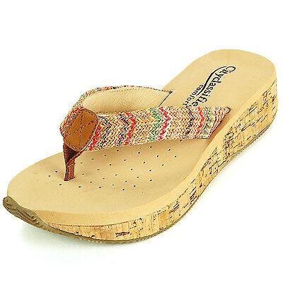 Womens Sandals Wedge Heel Cork Mule Padded Comfort Open Toe Thong Platform Shoes