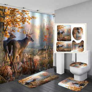 Autumn Forest Deer Shower Curtain Bath