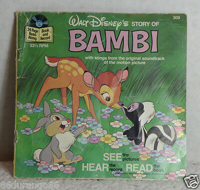 VINTAGE DISNEY 33 1/3 RPM RECORD BOOK BAMBI