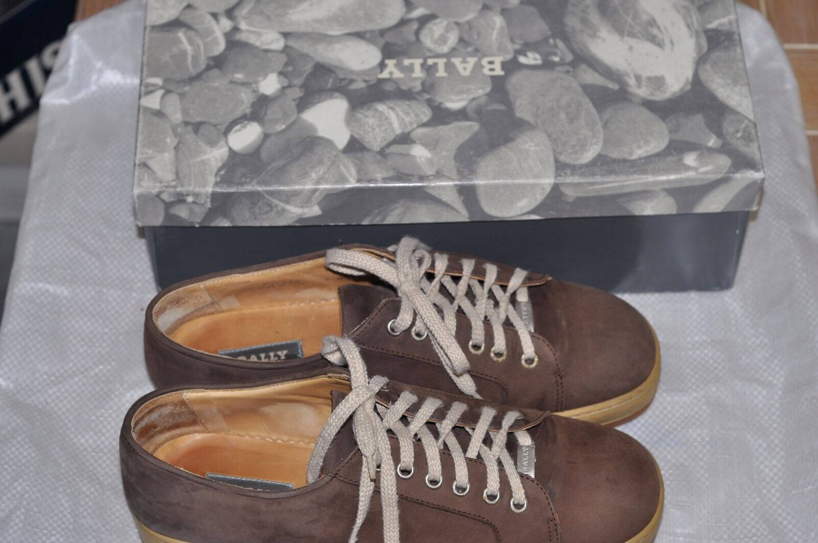 BALLY  Pulsar  brown Suede Lace Up Sneakers shoes  Made EU7 US8 with box