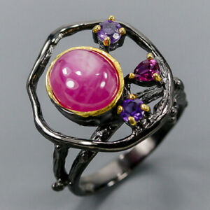 Star Ruby Ring Silver 925 Sterling AAA+ Sweet color Size 9 /R142953
