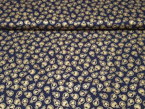 Deko Stoff Baumwolle Weihnachtsstoff Meterware Weihnachten Motive Gold Glitzer