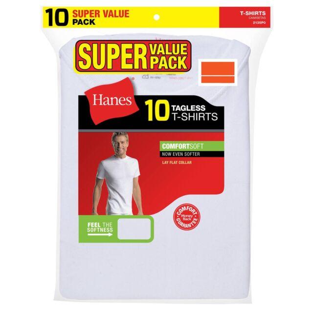 7c09e80e33 Hanes Mens ComfortSoft White Crew Neck T-shirt Super Value 10 Pk. Size L