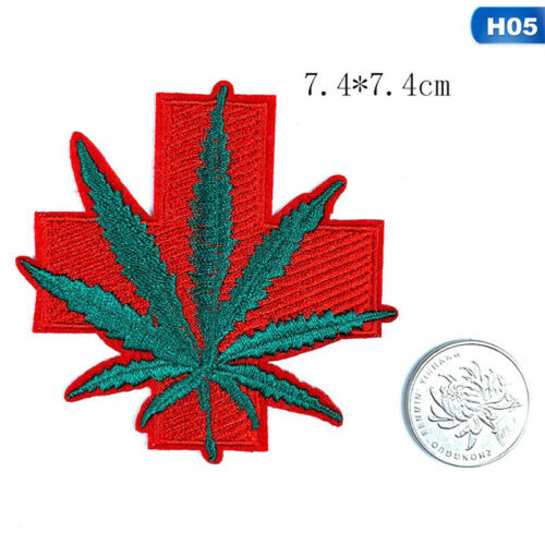 CANNABIS LEAF PATCH Ebroidered Iron On MARIJUANA SKUNK WEED POT GRASS z lskn