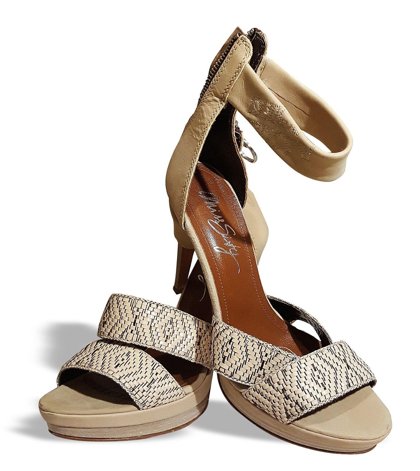 MISS MISS MISS SIXTY komplett Echtleder Platform Sandaletten Gr.37 Neu Beige Italien d65d54