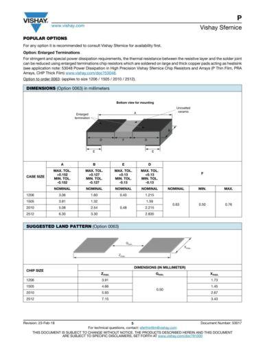 Vishay SMD Precision Resistor 100k Ohm 0.1/% 10PPM Wraparound Sulfur Resistant