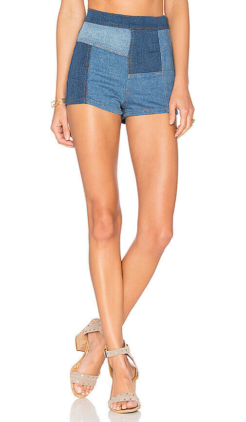 Free People Womens Patch High OB585968 Shorts Slim Patched Indigo bluee Size 26W