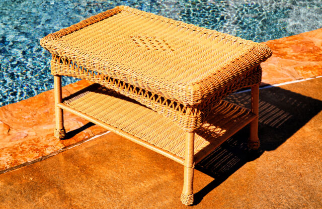 Wicker Outdoor Coffee Table Light Brown Resin