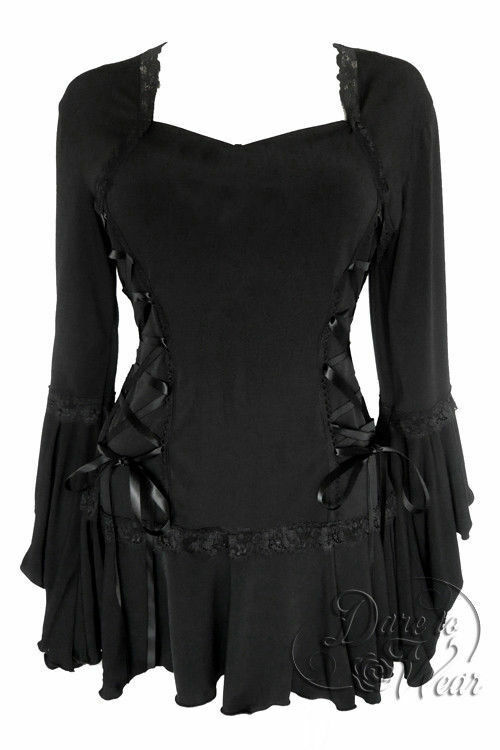 Dare to Wear Victorian Gothic Plus Größe Bolero Corset Top in schwarz