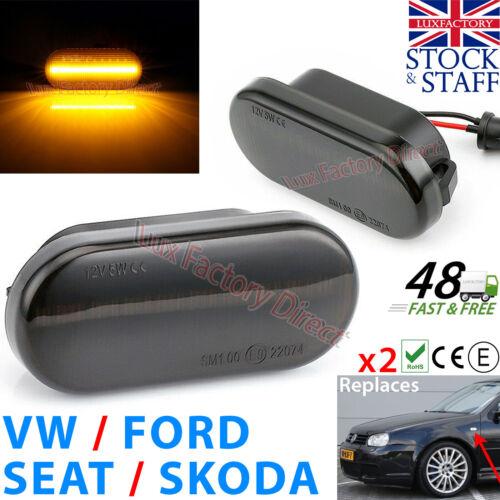 VW Skoda Seat FORD DEL répéteur Tinted Noir Côté Indicateur Clignotant luxfactory