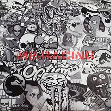 "*60""x60"" 5ftx5ft Black White Stickerbomb Graffiti Vinyl sticker wrap Decal Film"