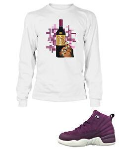 e8505046f7e3 Tee Shirt To Match AIR JORDAN 12 BORDEAUX Shoe Mens White Long ...