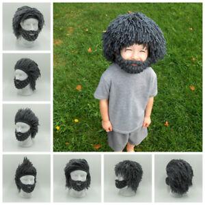 4f2655db0be Hot Mens Boys Funny Wig Beard Hats Hobo Mad Caveman Winter Knit Warm ...