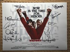 Cast Signed Escape To Victory Movie Photograph Poster. COA And Photo Proofs