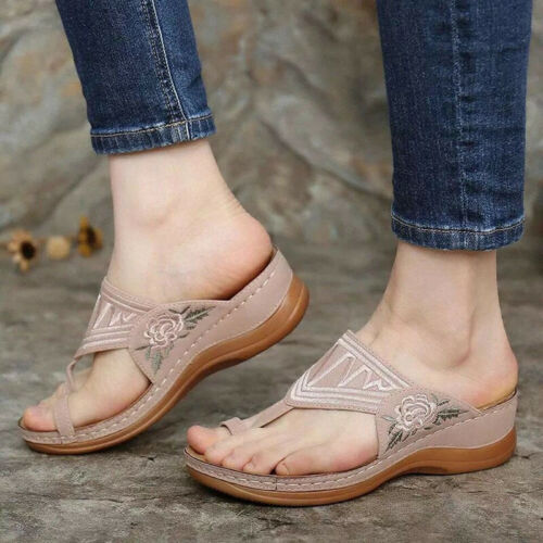 Womens Embroidery Sandals Mules Summer Flip Flops Slippers Loafer Flat Shoes US