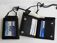 Black Genuine Leather Wallet Id Badge Window Pocket Card Holder Zip Neck Strap