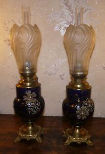 Paire-Lampe-a-petrole-en-faience-QUIMPER-HB-ref-222