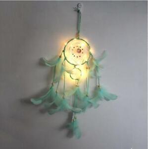 Handmade Dream Catcher LED Light Feathers Wall Hanging Dreamcatcher Decor #K