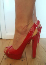 Christian Louboutin Marple Town 140 Patent calf red high heel sandals 37.5 4.5uk