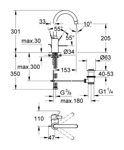 GROHE Eurosmart C high basin mixer swivel tap faucet 32830000