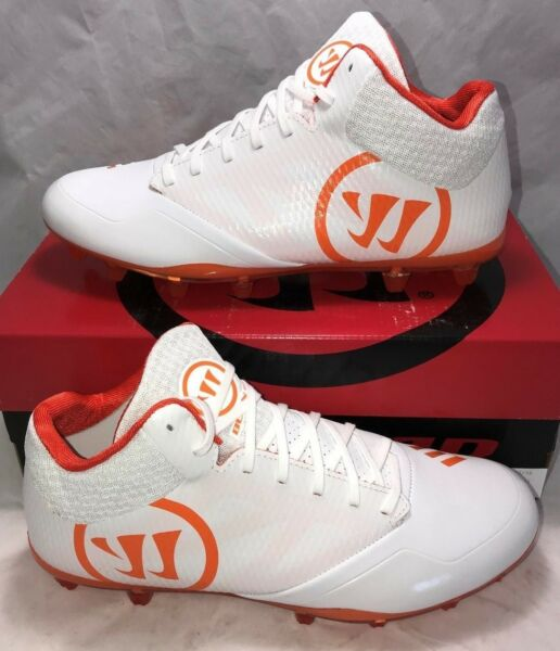 a95090202 Warrior Mens Size 10.5 Burn 9.0 Lacrosse Lax Cleats White Orange Mid New