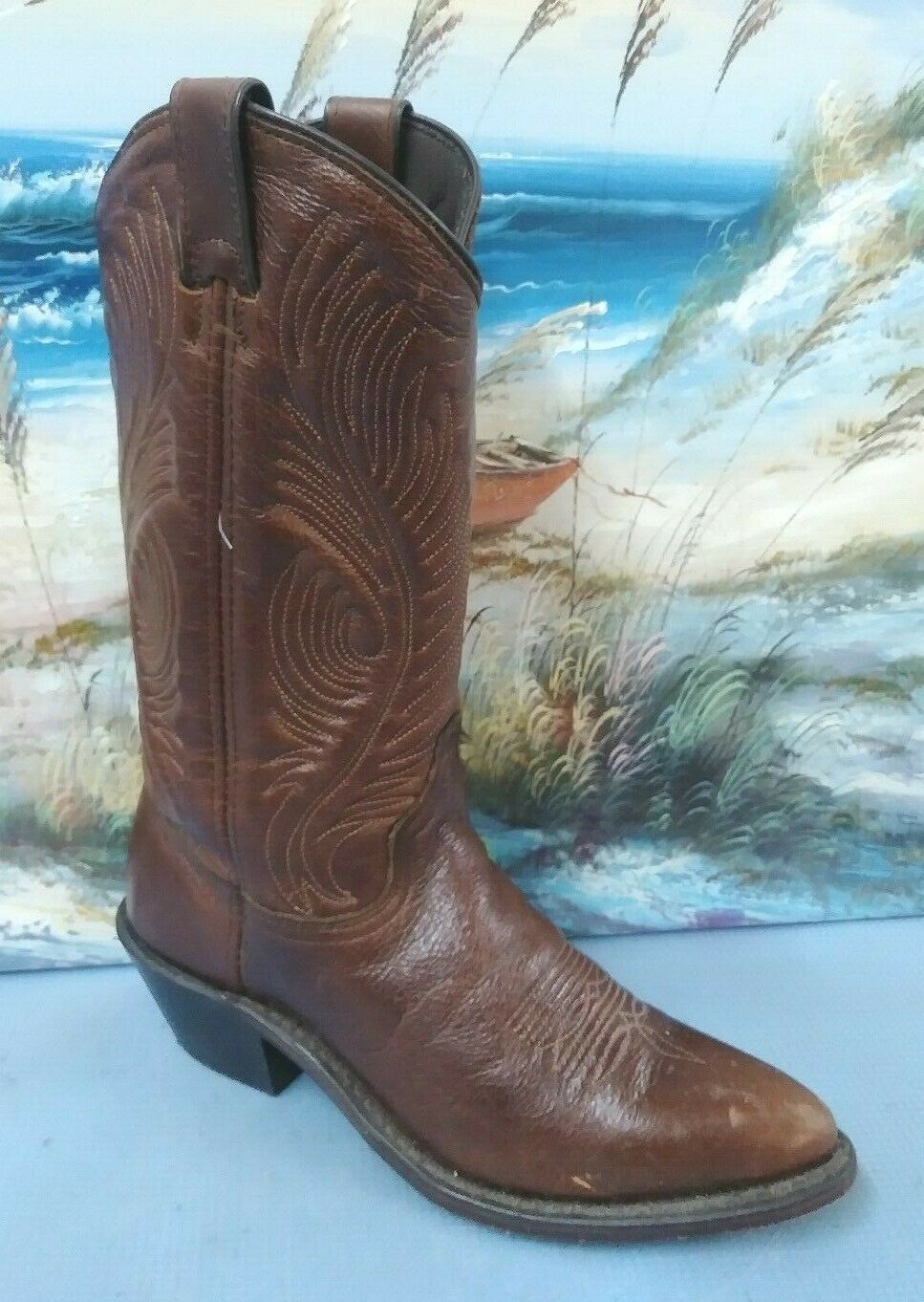 Vintage womens Brown learher western cowboy boot size 6 M   105053695