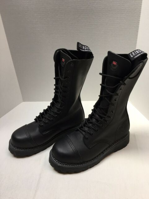 Grinders Men's Black 14 Eye Leather Boots New without Box