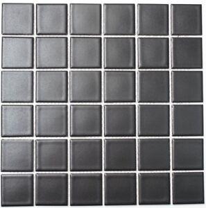 Mosaïque carreau céramique noir mat cuisine bain mur sol 16-0311_f ...