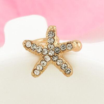 1pc Personality Crystal Starfish Ear Clip Cuff Earring Women Girls Fashion