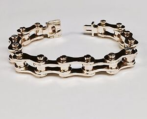 Image Is Loading 18k Solid Rose Gold Motorcycle Bike Chain Bracelet