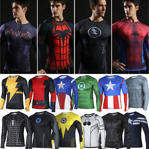 Mens-Marvel-Superhero-Compression-T-Shirts-Long-Sleeve-Fitness-Sports-Gym-Tops